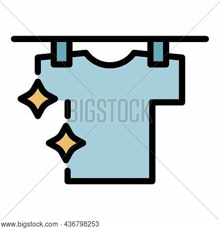 Clean Shirt On Hang Wire Icon. Outline Clean Shirt On Hang Wire Vector Icon Color Flat Isolated