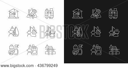 Kids Injuries Danger Linear Icons Set For Dark And Light Mode. Child Safety At Home. Prevent Injurie