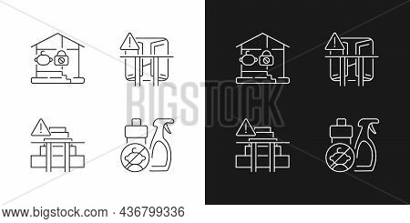 Safety Precaution At Home Linear Icons Set For Dark And Light Mode. Falling And Poisoning Prevention