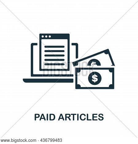 Paid Articles Icon. Monochrome Sign From Content Marketing Collection. Creative Paid Articles Icon I