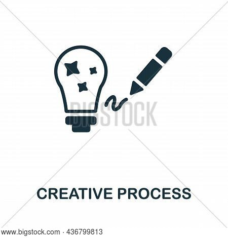 Creative Process Icon. Monochrome Sign From Creative Learning Collection. Creative Creative Process