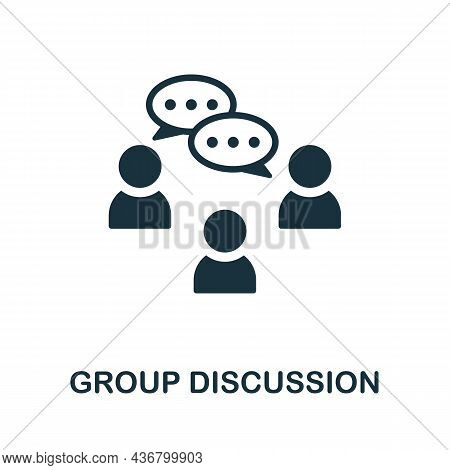 Group Discussion Icon. Monochrome Sign From Creative Learning Collection. Creative Group Discussion