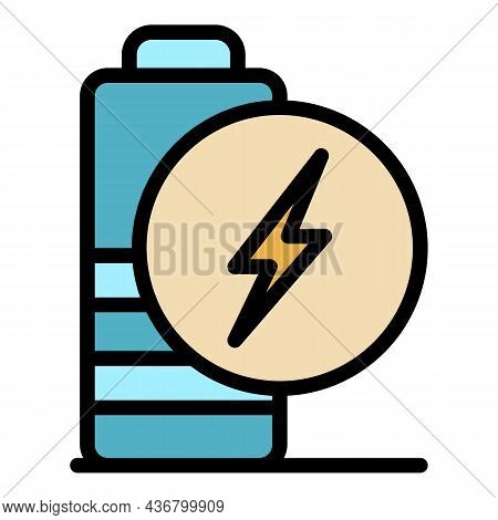 Low Charge Battery Icon. Outline Low Charge Battery Vector Icon Color Flat Isolated