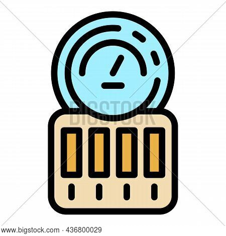 Electric Counter Icon. Outline Electric Counter Vector Icon Color Flat Isolated