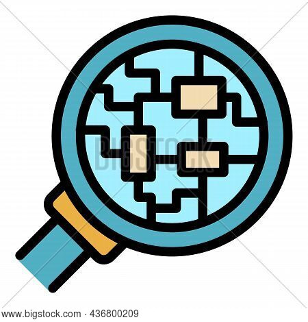 Electric Circuit Under Magnifier Icon. Outline Electric Circuit Under Magnifier Vector Icon Color Fl