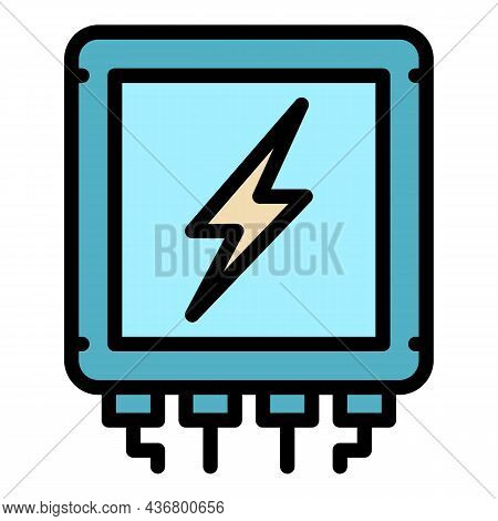 Electric Cable Box Icon. Outline Electric Cable Box Vector Icon Color Flat Isolated