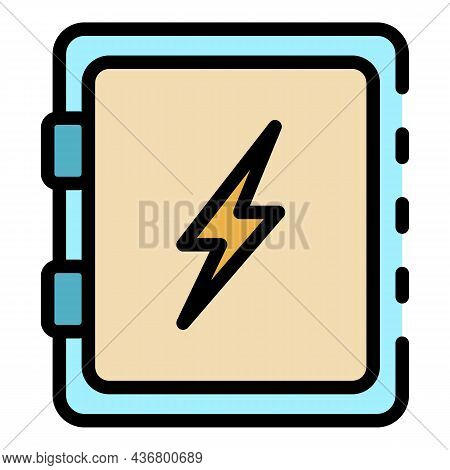 Electric Home Box Icon. Outline Electric Home Box Vector Icon Color Flat Isolated