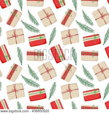 Christmas Gift Boxes In Craft Paper Seamless Pattern. Zero Waste Wrapping Paper With Gifts And Spruc