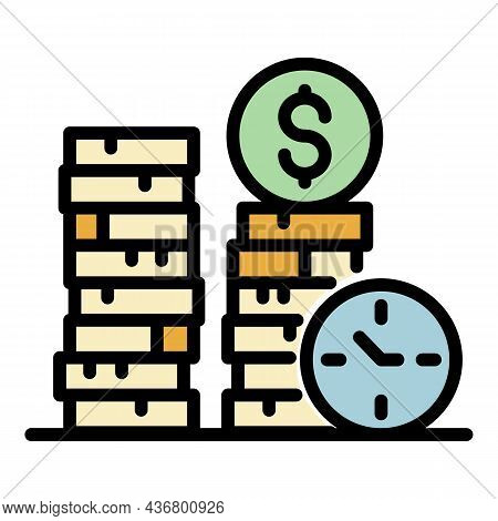 Money Coins Stack Icon. Outline Money Coins Stack Vector Icon Color Flat Isolated