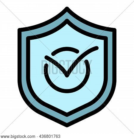Approved Insurance Protection Icon. Outline Approved Insurance Protection Vector Icon Color Flat Iso
