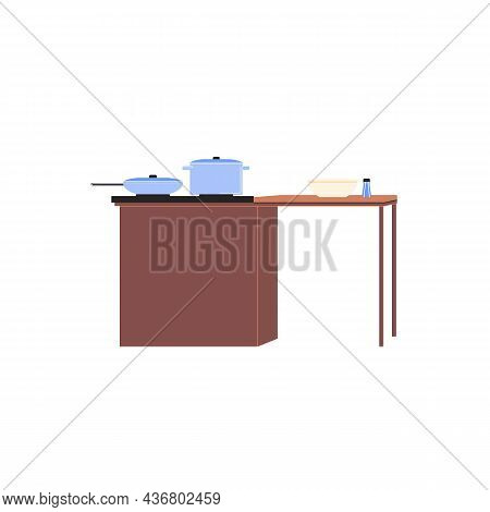 Vector Flat Cartoon Pan, Skillet And Bowl On Cooking Table Isolated On Empty Background-modern Home
