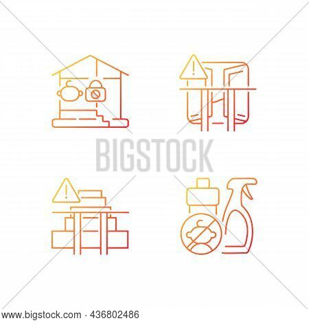 Safety Precaution At Home Gradient Linear Vector Icons Set. Falling And Poisoning Prevention. Keep C