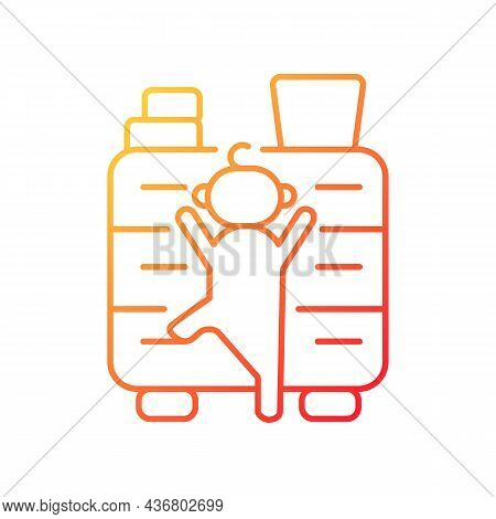 Child Climbing On Furniture Gradient Linear Vector Icon. Child Safety At Home. Risk Of Concussion An