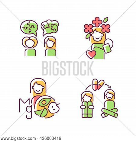 Mental Disorders Treatment Rgb Color Icons Set. Depression Medication Therapy. Mental Health And Wel