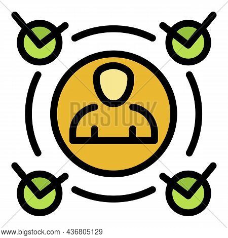 Approved Man Icon. Outline Approved Man Vector Icon Color Flat Isolated