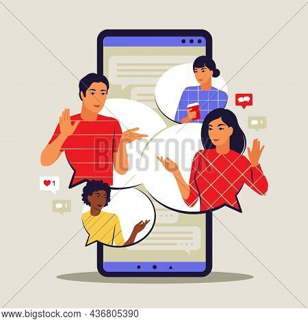 Messaging Application Concept. Chatting And Messaging On Smartphone. Short Message Bubbles. Vector I