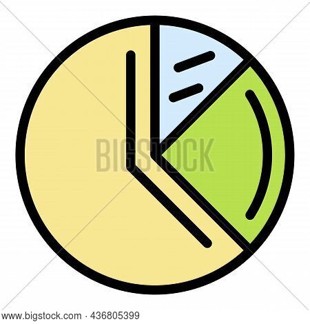 Pie Chart Icon. Outline Pie Chart Vector Icon Color Flat Isolated