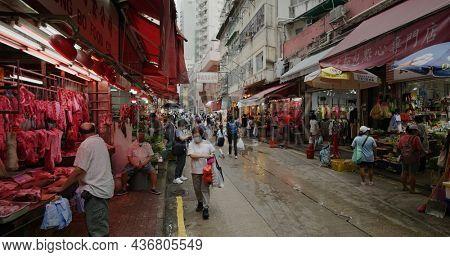 Causeway Bay, Hong Kong 17 September 2021: Bowrington Road Market