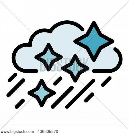 Snow Rainy Cloud Icon. Outline Snow Rainy Cloud Vector Icon Color Flat Isolated