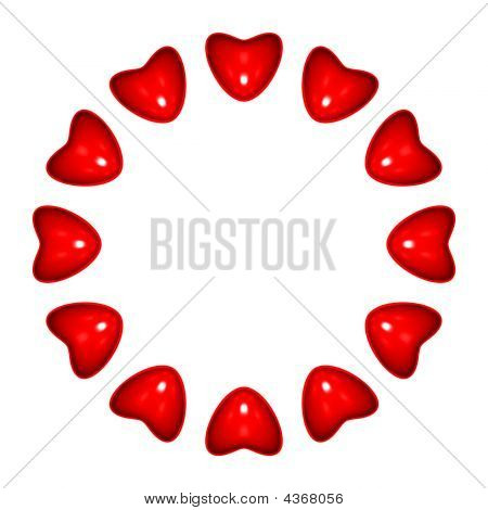 Circle Of Hearts, White Background