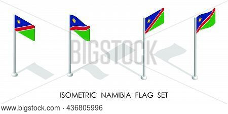 Isometric Flag Of Namibia In Static Position And In Motion On Flagpole. 3d Vector