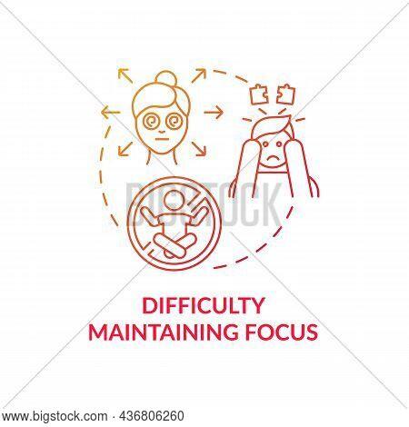 Difficulty Maintaining Focus Concept Icon. Inattentive Sign Abstract Idea Thin Line Illustration. La