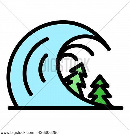 Disaster Tsunami Icon. Outline Disaster Tsunami Vector Icon Color Flat Isolated