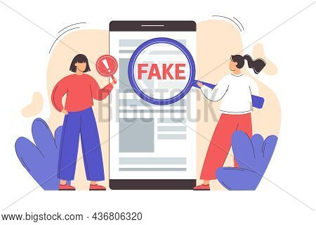 Flat Girl With Magnifying Glass Scanning And Check News On Smartphone. Spreading Fake News Concept.