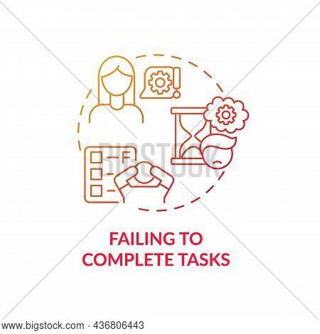 Failing To Complete Tasks Concept Icon. Inattentive Symptom Abstract Idea Thin Line Illustration. Ex
