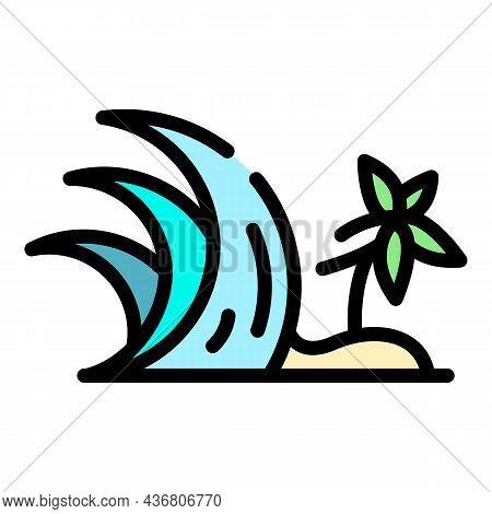 Palm Tree Tsunami Icon. Outline Palm Tree Tsunami Vector Icon Color Flat Isolated