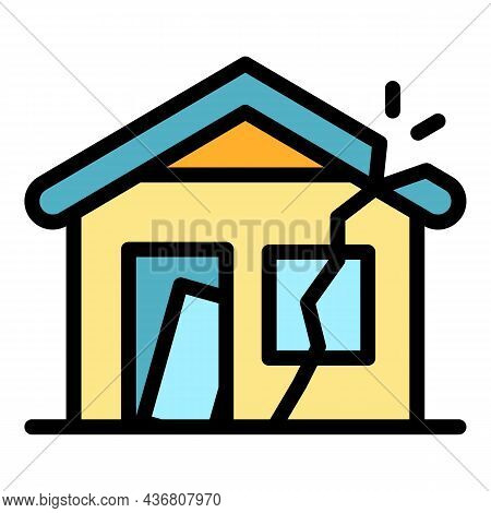 Destroyed House Icon. Outline Destroyed House Vector Icon Color Flat Isolated