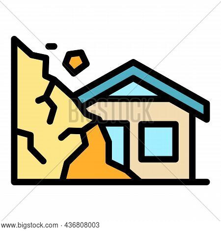 Destroyed Rockfall House Icon. Outline Destroyed Rockfall House Vector Icon Color Flat Isolated