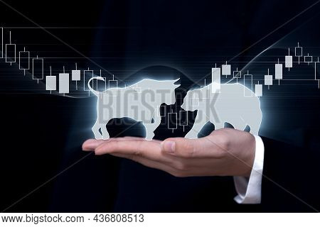 Financial Investment Background, Drawing Of A Bull And A Bear On The Hand Of A Market Maker On A Can