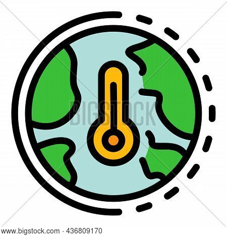 Global Hot Temperature Icon. Outline Global Hot Temperature Vector Icon Color Flat Isolated