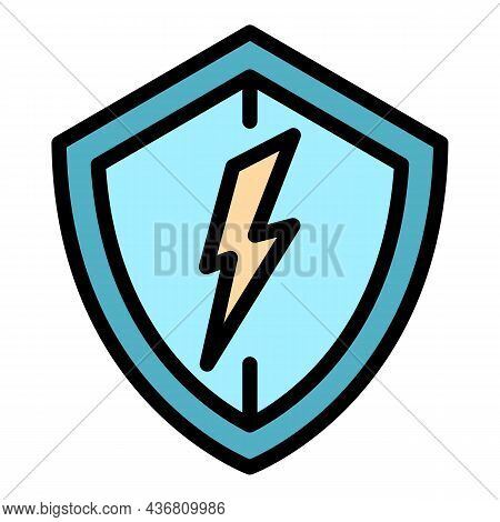 Electric Protect Shield Icon. Outline Electric Protect Shield Vector Icon Color Flat Isolated