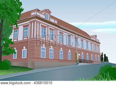 Historical Building Background - Colored Illustration With Brick Manor And Nature, Vector