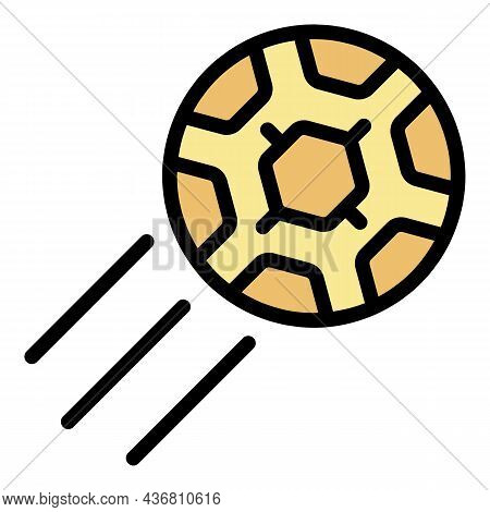 Flying Soccer Ball Icon. Outline Flying Soccer Ball Vector Icon Color Flat Isolated