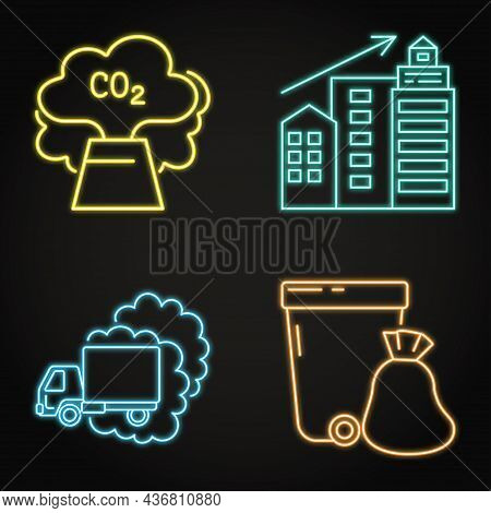 Neon Icon Set - Causes Of Climate Change
