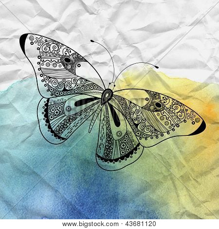 Graphic decorative butterfly on a beautiful watercolor background with crumpled paper poster