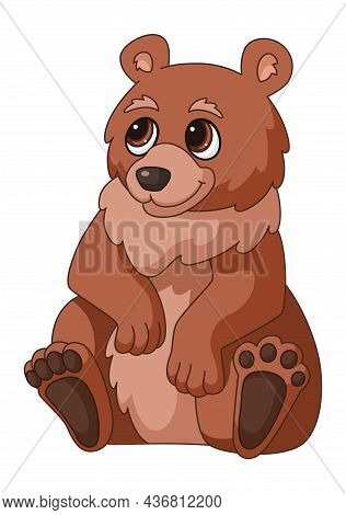 Cartoon Bear. Brown Sitting Forest Grizzly, Smiling Cute Wild Bears Character