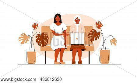 The Girl Sits With Grandmother And Helps To Work In The Laptop, Flat Vector Illustration