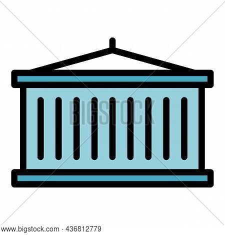 Cargo Container Icon. Outline Cargo Container Vector Icon Color Flat Isolated