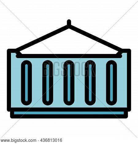Dockyard Container Icon. Outline Dockyard Container Vector Icon Color Flat Isolated