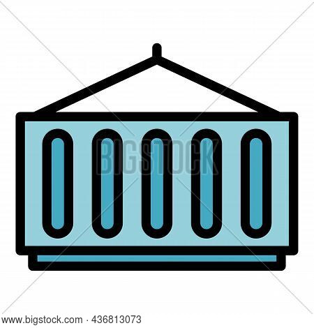 Box Container Icon. Outline Box Container Vector Icon Color Flat Isolated