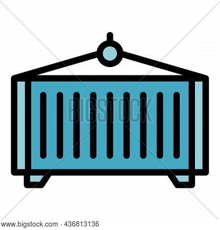Export Cargo Container Icon. Outline Export Cargo Container Vector Icon Color Flat Isolated