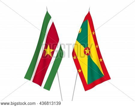 National Fabric Flags Of Grenada And Republic Of Suriname Isolated On White Background. 3d Rendering
