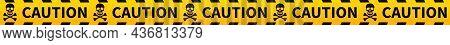 Yellow Caution Tape. Warning Ribbon With Black Skulls.
