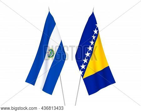 National Fabric Flags Of Bosnia And Herzegovina And Republic Of El Salvador Isolated On White Backgr
