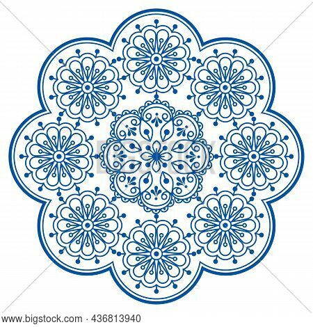 Retro Scandinavian Vector Embroidery Folk Art Style Mandala Design With Flowers Perfect For Greeting