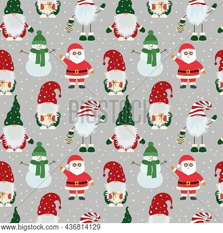 Christmas Seamless Pattern With Scandinavian Gnomes, Santa Claus And Snowflakes. Can Be Used For Fab